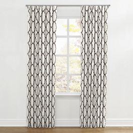 Dark Taupe Quatrefoil Ripplefold Curtains Close Up