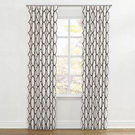 Dark Taupe Quatrefoil Ripplefold Curtains Close Up