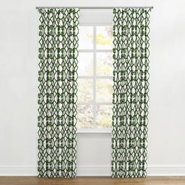 Asian Green Trellis Ripplefold Curtains Close Up