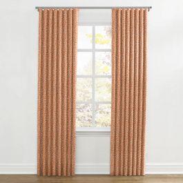 Tribal Orange Diamond Ripplefold Curtains Close Up