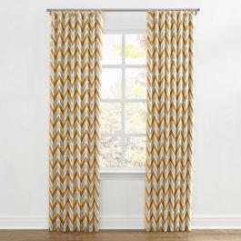Tan & Orange Chevron  Ripplefold Curtains Close Up