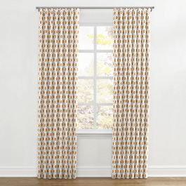 Beige & Orange Hexagon Ripplefold Curtains Close Up