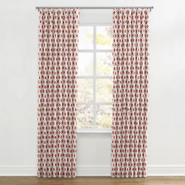 Gray & Red Hexagon Ripplefold Curtains Close Up
