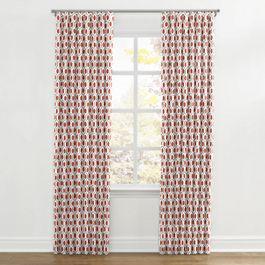Gray & Red Hexagon Ripplefold Curtains Close Up