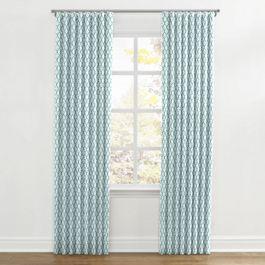 Aqua Blue Block Print Ripplefold Curtains Close Up