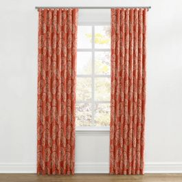 Coral Red Fan Leaf Ripplefold Curtains Close Up