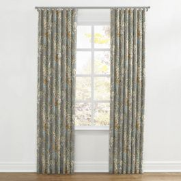 Intricate Gray Floral Ripplefold Curtains Close Up