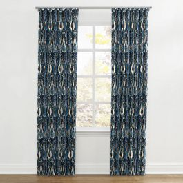 Navy Blue Ikat Ripplefold Curtains Close Up