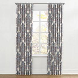 Coral & Blue Paisley Damask Ripplefold Curtains Close Up
