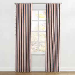 Coral & Blue Stripe Ripplefold Curtains Close Up