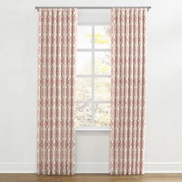 Scrolled Pink Trellis Ripplefold Curtains Close Up