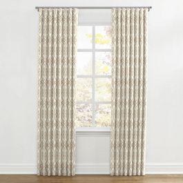 Tan Scroll Trellis Ripplefold Curtains Close Up