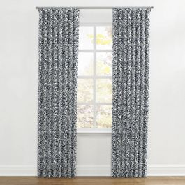 Navy Blue Paisley Ripplefold Curtains Close Up