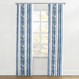 Aqua Blue Shibori Stripe Ripplefold Curtains Close Up