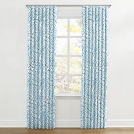 Teal & White Net Ripplefold Curtains Close Up