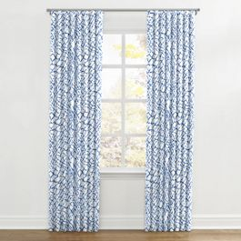 Blue & White Net Ripplefold Curtains Close Up