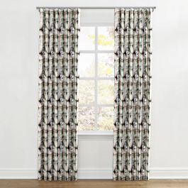 Black & White Shibori Ripplefold Curtains Close Up