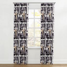 Black & White Brushstrokes Ripplefold Curtains Close Up