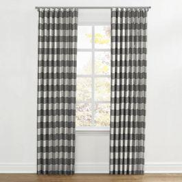 Gray & White Buffalo Check Ripplefold Curtains Close Up