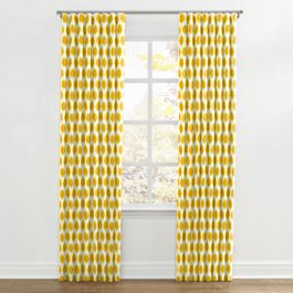 Bright Yellow Dot Ripplefold Curtains Close Up