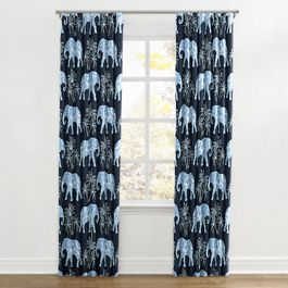 Navy Blue Elephant Ripplefold Curtains Close Up