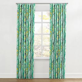 Lime Green & Yellow Abstract Ripplefold Curtains Close Up