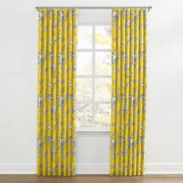 Yellow & Gray Zoo Animal Ripplefold Curtains Close Up