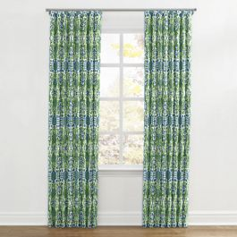 Green & Blue Ikat Ripplefold Curtains Close Up