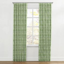 Green Watercolor Trellis Ripplefold Curtains Close Up