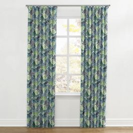 Green Hillside Floral Ripplefold Curtains Close Up