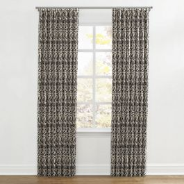 Tan & Black Tribal Print Ripplefold Curtains Close Up