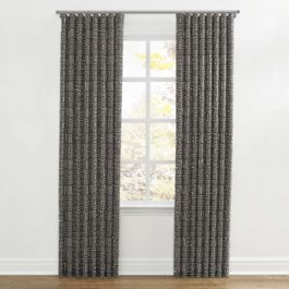 Charcoal Woven Tribal Ripplefold Curtains Close Up