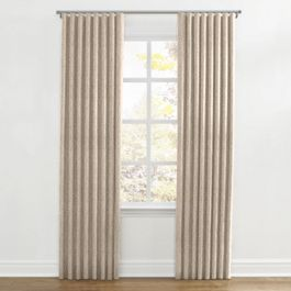 White & Tan Embroidery Ripplefold Curtains Close Up