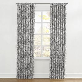 Black & White Abstract Hexagon Ripplefold Curtains Close Up