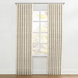 Beige Mudcloth Ripplefold Curtains Close Up