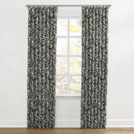 Modern Black & White Floral Ripplefold Curtains Close Up