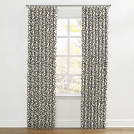 Dark Gray Floral & Bird Ripplefold Curtains Close Up