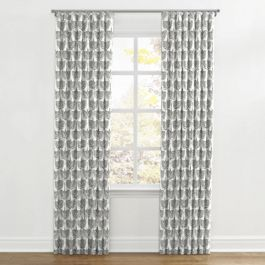 Flocked Gray Bird Ripplefold Curtains Close Up