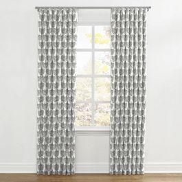 Flocked Gray Bird Ripplefold Curtains Close Up