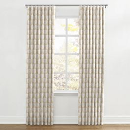 Natural & White Bird Ripplefold Curtains Close Up