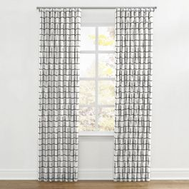 Black & White Check Ripplefold Curtains Close Up