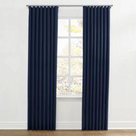 Dark Indigo Blue Linen Ripplefold Curtains Close Up