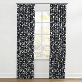 Navy Graphic Floral Ripplefold Curtains Close Up