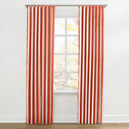 Red Awning Stripe Ripplefold Curtains Close Up