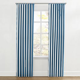 Royal Blue Awning Stripe Ripplefold Curtains Close Up