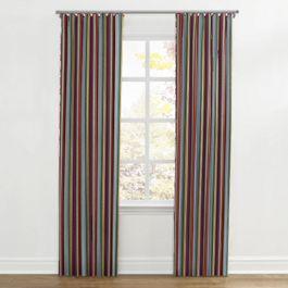 Purple Multicolor Striped Ripplefold Curtains Close Up
