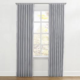 Navy & White Stripe Ripplefold Curtains Close Up