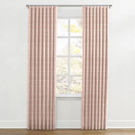 Pale Coral Trellis Ripplefold Curtains Close Up