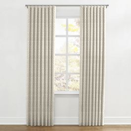 Light Tan Trellis Ripplefold Curtains Close Up