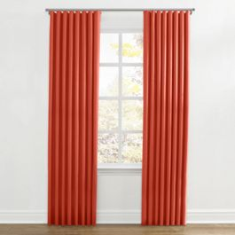 Tomato Red Sunbrella® Canvas Ripplefold Curtains Close Up